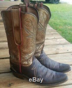 Lucchese Women's Cowboy Girl Boots Size 10 Brown Leather Gold Shafts Red Piping
