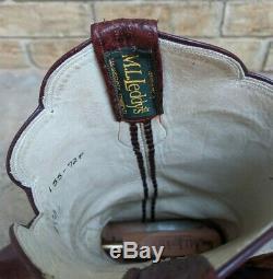 ML Leddy Full Quill Ostrich Tooled leather Custom Work Art Dress Boots Mens 10C
