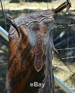 MS Leather Hair-On Brown Brindle Cowhide Chinks with Chocolate Floral Yoke