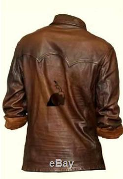 Masculine Edge Design Stretchy Mens Brown Waxy Real Leather Western Shirt