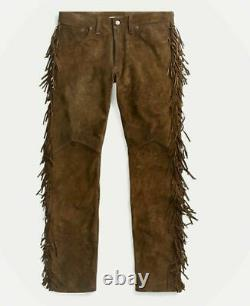 Men Native American Brown Cowboy Suede Leather Western Pants With Fringes