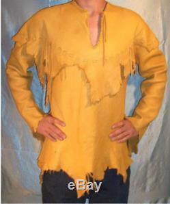 Men's Antique Native American Western Wears Cow Suede/Tan Leather War Shirt