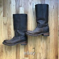 Men's FRYE Campus 14L Brown Leather Made In The USA Tall Western Boots Sz 12 M