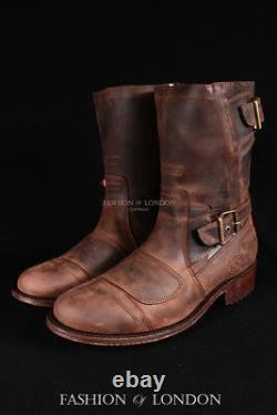 Men's GRINDERS ROUTE 66 Brown Biker Motorcycle Cowboy Mid-Calf Leather Boots