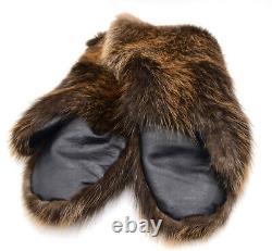 Men's Mittens for Winter, Real Beaver Fur