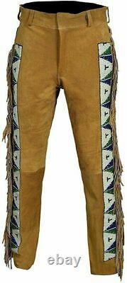 Men's Native American Western Buckskin Suede Leather With Fringe beaded Pants