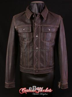 Men's TRUCKER Leather Jacket Western Classic Brown Denim Style Shirt Jacket