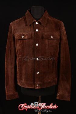 Men's TRUCKER Suede Leather Jacket Western Classic Denim Style Shirt Jacket 1280