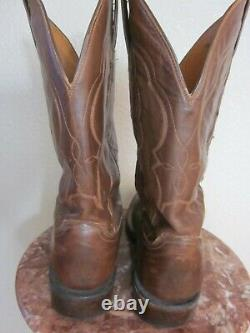 Mens LUCCHESE Exotic BROWN CAIMAN & LEATHER Square Toe COWBOY BOOTS Sz 10 1/2 EE