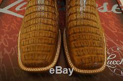 Mens Lucchese M4541. Twf Tan Hornback Crocodile Back Cut Cowboy Western Boot