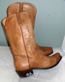Mens Lucchese N1547 Mad Dog Goat Brown Leather Cowboy Western Boots Size 9 D