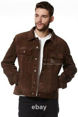 Mens TRUCKER LEATHER Jacket Brown Western Classic Real Suede Leather Jacket 1280