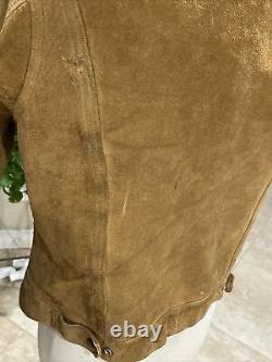 Mens Vintage Levis Big E Brown Slimtab Leather Ranch Western Jacket Coat Small