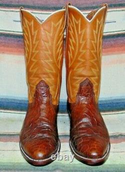 Mens Vintage Nocona Brown Alligator / Leather Cowboy Boots 10 D Excellent Cond