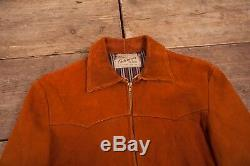 Mens Vintage Sears 1940s Tan Suede Leather Jacket Talon Zip Medium 38 R6892