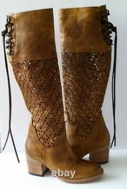 NEW Freebird Creek Womens 6 Cognac Leather Tall Boots Cutouts Boho