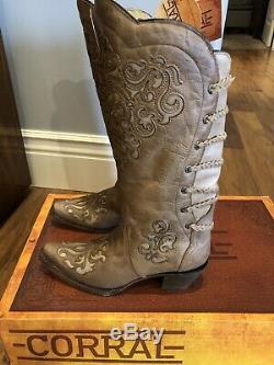 NIB Womens Corral Magdalena Snip Toe Western Cowboy Boots Inlay A3043 Brown 9.5