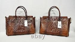 NWT Brahmin Harper Leather Satchel/Shoulder Bag in Pecan Melbourne