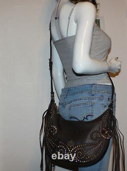 NWT MICHAEL Michael Kors Rhea Studded Leather Small Slouchy DK Cho Shoulder Bag