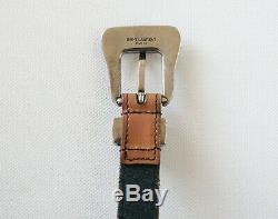 NWT SAINT LAURENT Paris WESTERN Buckle Brown Leather Skinny Belt IT-75/US-30