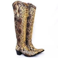 New $2400 Sz 8.5 Old Gringo L512-3 Elisa Python Over The Knee Otk Snakeskin Boot