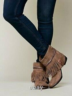 New Free People Lonesome Fringe Ankle Boots Booties Western Suede Leather 41 11