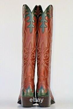 New Littles Boot Company FANCY TALL BUCKAROO MENS COWBOY BOOTS 9.5 D NWOB
