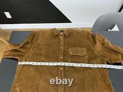 New Ralph Lauren Brown Leather Shirt Jacket Polo RRL Cowboy VTG Western Suede ML