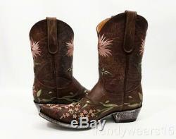 New Sz 7 $430 Old Gringo L575-6 Ellie 10 Brass Pink Floral Western Cowboy Boots