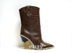 New in Box Fendi Women's Cutwalk Pointed-Toe Cowboy Boots Brown 8T6783