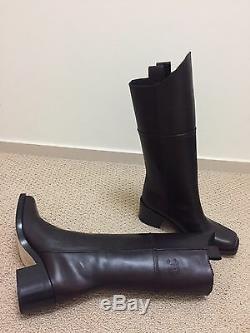 Nib Chanel Dallas Paris Dark Brown Leather Tall CC Logo Cowboy Boots 37.5 $2k