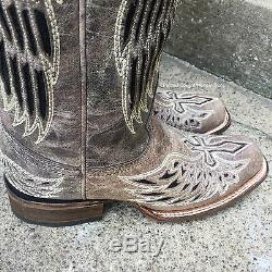 Nib Corral Women's Distressed Brown Wing & Cross Square Toe Western Boots A1197