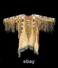 Old 1800 Style Tan Buckskin Suede Leather Beaded Fringe Powwow War Shirt SX1143