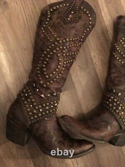 Old Gringo Belinda 18 Leather Cowboy Western Boots Brown Studded Distressed 9m