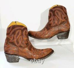 Old Gringo Distressed Ankle Cowboy Western Boots Booties Lauren Embroidered Sz 7
