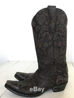 Old Gringo Nadia 13 Snip Toe 9.5 Cowboy Western Boots Black/Brown Floral Lace