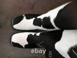 One pair calf hair leather boots white and black OR brown spots made to order