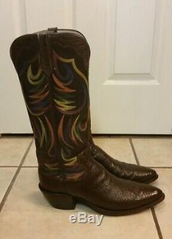 PAUL BOND Custom Brown Exotic Sharkskin Cowboy Boots 12-13 D Medium