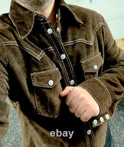 Polo Ralph Lauren Leather Shirt Jacket Western RRL Distressed Suede Nubuck Rodeo