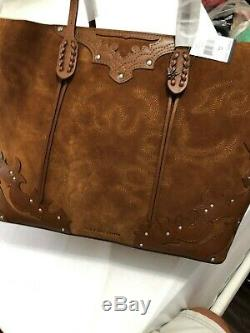 Polo Ralph Lauren Western Rivets Zip Tote Embroidered Suede Leather Shoulder Bag