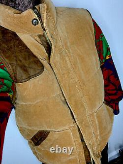 Polo Ralph Lauren X-Large Corduroy Vest Jacket RRL Leather Hunting Western Brown