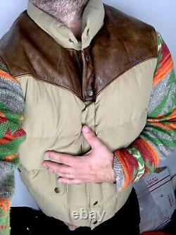 Polo Ralph Lauren XXL Vest Jacket RRL Leather Hunting RLX Rodeo Western Brown