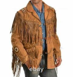 QMUK Men's Brown Traditional Western Leather Jacket coat Fringe and Beads