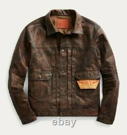 RRL Ralph Lauren Distressed Motorcycle Leather Jacket Men's XL Extra-Large