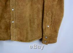 RRL Ralph Lauren Tan Shearling Lined Sheepskin Western Leather Jacket Men's XL