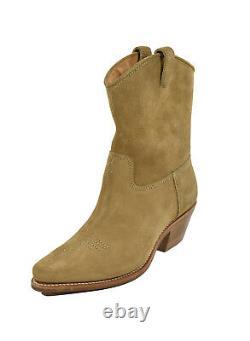 Ralph Lauren Purple Label Tan Rugged Suede Olin Cowboy Boots New $995