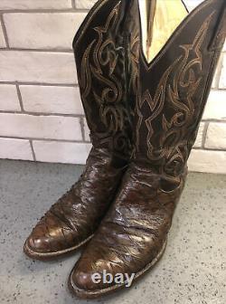 Rare Vintage 80's Dan Post Brown Anteater Western Cowboy Boots Men's Size 9D USA