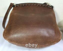 Rare Vintage GUCCI Brown Leather Western Style Double Saddle SlingShoulder Bag