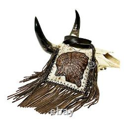 Raviani Fringe Crossbody Indian Chief Hair on Speckle Cowhide Leather Bag