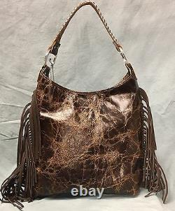 Raviani Indian Chief Distressed Brown Hobo Bag With Fringe & Silver studs #1426